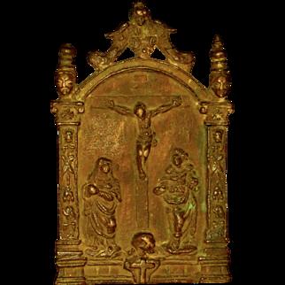 Bronze 16th Century Pax w/Crucifixion Scene