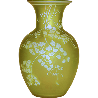 Signed Thos. Webb Citron Cameo Vase w/ Maiden Hair Fern Decor & Butterfly