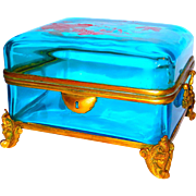 Big & Fabulous French Enameled Glass Dresser Box or Casket- Dove & Florals