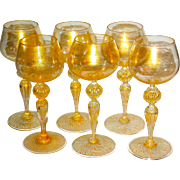 Set/6 Salviati Murano Venetian Glass Hand-Blown Goblets w/Gold
