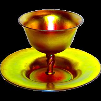 Steuben Iridescent Art Glass Gold Aurene #2361 2 pc. Set