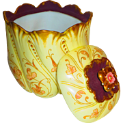Limoges Factory Decorated Art Nouveau Biscuit Jar