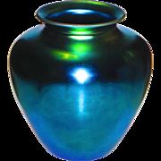 """8"""" Steuben Classic Blue Aurene Vase w/Exceptional Color"""
