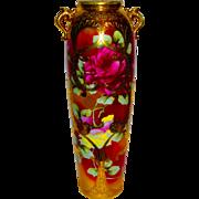 Large Nippon Porcelain Vase w/Huge, Colorful Roses, Enamel, & Gilt