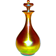 Tiffany Favrile Glass Gold Iridescent Small Decanter or Large Perfume