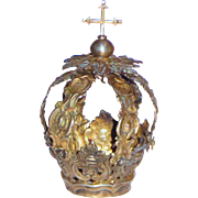 Sterling Silver Baroque Style Antique Santos Crown