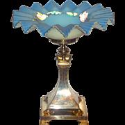 HUGE!!!! Bride's Basket Bowl & Figural Holder Turtles Satin Glass Coralene Roses