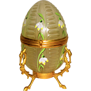 Ca. 1880French Floral Enamel Decorated Glass Egg in Figural Ormolu Mounts