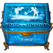 The Finest Mary Gregory Casket or Box w/Cherubs & Figural Mounts