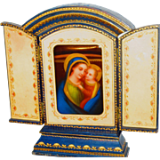Tanfani & Bertarelli Roma Hand Painted Porcelain Plaque Madonna & Child In Case