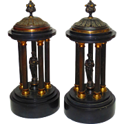 Fine Neoclassical Pair Bronze & Slate Garnitures