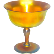 Steuben Gold Aurene Iridescent Footed Compote