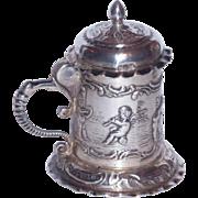 "Miniature 3"" Sterling Silver Repousse Tankard w/Cherubs"