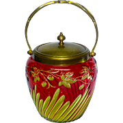 The FINEST Baccarat 2 Color Cranberry Cut to Yellow/Green Biscuit Jar