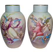 Large Pair Hand Painted signed Joseph Ahne Vases w/ Cherubs