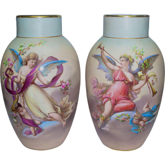 Large Pair Hand Painted signed Joseph Ahne Vases w/ Cherubs