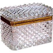 Fine Baccarat Super Quality French Cut Crystal Casket Dresser Box w/Ormolu Mounts