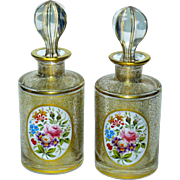 Fine Pair Bohemian Cut, Gilt, & Hand-Painted Perfume Bottles