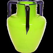 Czech Tango Big Opal Chartreuse & Cobalt Deco Vase