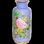 Rare Large Lavender Color Opaline Vase w/Bold Enamels Bugs & Butterflies