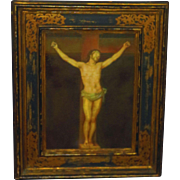 Ca. 1890 Grand Tour Crucifixion Scene Style of Old Master Christ on Cross