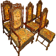 Set/6 Jacobean Needlepoint Chairs 2 Thrones w/4 Side Chairs