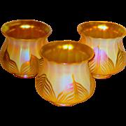 Set of 3 Decorated Quezal Shades w/Brilliant Iridescence