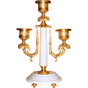Neoclassical Marble and Ormolu Regency Style 3 Socket Candlestick
