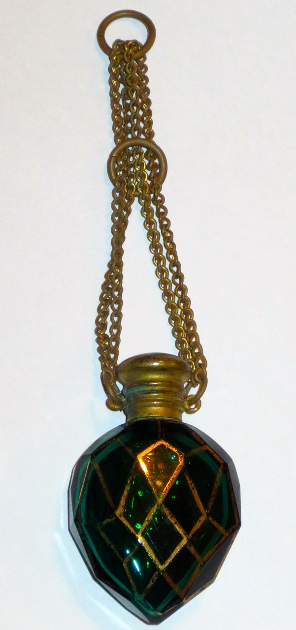 Green Cut Glass & Gilt Chatelaine Perfume/Scent Bottle w/Chain