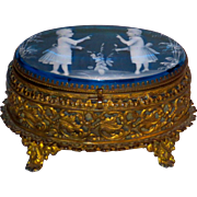 Unusual Ca. 1880 Mary Gregory Casket or Dresser Box