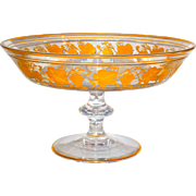 Val St. Lambert Pampre D'or Large Centerpiece Compote