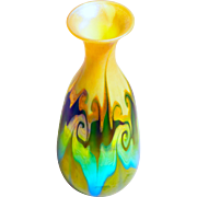 Art Noveau Quezal Green, Gold, & Opal Hooked Feather Vase- MUSUEM QUALITY-