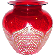 Signed Durand Cranberry & White Pulled Feather Art Glass Vase