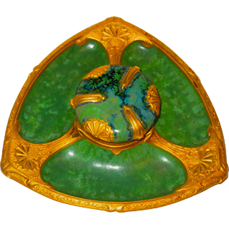 Art Nouveau French Porcelain & Bronze LOUCHET FRERES Inkwell