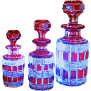 Set/3 Baccarat Cranberry cut-to-clear Perfume, Cologne, Scent Bottles