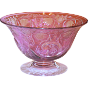 Steuben Amethyst Lyons Lions Pattern Cut-to-Clear Footed Bowl