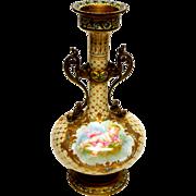 Sevres Cherub Porcelain Vase in Enamel Champleve Figural Mounts
