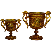 2 French Bronze Handled Cups w/Masks Based on Antiquity
