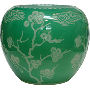 Steuben Matsu Pattern Jade/Alabaster Cased/Etched Large Art Deco Vase