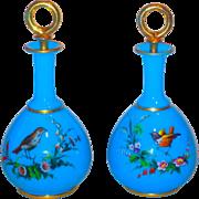 Pair Blue Opaline Tall Perfumes w/Gilt & Enamel Birds- THE BEST!