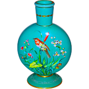Large Moon Flask Opaline Decorated Art Glass Vase Bird & Butterfly