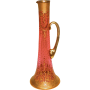 """Massive Decorated Moser Cranberry Pitcher Over 18"""" tall"""