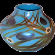 Steuben Turquoise Aurene Decorated Vase