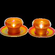 Quezal Glass 2 sets (4 pcs) Bowls & Underplates