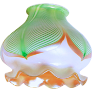 Decorated Iridescent Quezal Art Glass Shade