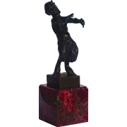 Bergman Erotic Satyr Vienna Bronze on Eudialyte Mount