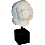 Large Victorian Carved Marble Head Fragment of a Young Girl