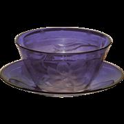 Art Nouveau Moser Amethyst Intaglio Finger Bowl Set w/Engraved Florals
