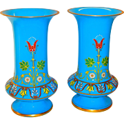 Superb Pair of Austrian Lobmeyr Blue Opaline Heavy Enameled Vases
