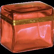 Large Cranberry Gilt Mounted Art Glass Box or Dresser Casket